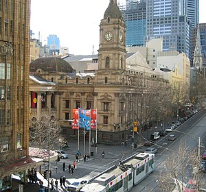 Melbourne Town Hall - Looking east along Collins Street toward the Melbourne Town Hall