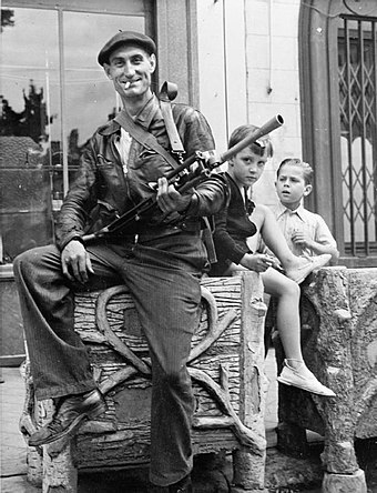 A volunteer of the French Resistance interior force (FFI) at Chateaudun in 1944 Member of the FFI.jpg