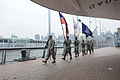 Members of the color guard from 69th Infantry Regiment, New York National Guard, present the colors, during the Pearl Harbor Day ceremony on the Intrepid Sea, Air and Space 121207-A-VX676-621.jpg