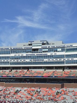 Memorial Stadium (Champaign) - View of the new lettering and one of two new ribbon video boards at Memorial Stadium