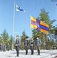 Men of the Ingrian Battalion (Er.P6) giving their oath to Finland, East Kannas, Leininkylä, 27 April 1944. Colorized by Julius Jääskeläinen.jpg