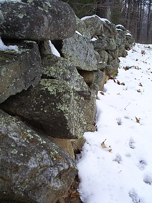 """Mending Wall - Stone wall at Frost's farm in Derry, New Hampshire, which he describes in """"Mending Wall"""""""