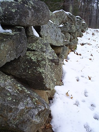 "Mending Wall - Stone wall at Frost's farm in Derry, New Hampshire, which he describes in ""Mending Wall"""