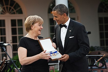 Obama with German Chancellor Angela Merkel in 2011 Merkel an Obama Presidential Medal of Freedom.jpg