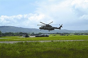 RAF Merryfield - A Merlin helicopter landing at Merryfield