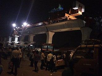 Hyderabad Metro - Image: Metro Rail status at Uppal March 23 2013