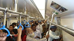 Purple Line (Namma Metro) - Interior of the Metro coach on inauguration day