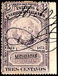 Mexico 1874-1875 documentary revenue 2A Michoacan.jpg