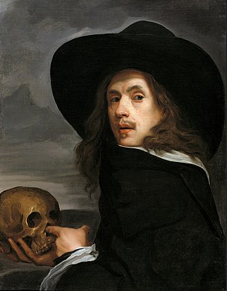 Young Man with a Skull - Image: Michael Sweerts self portrait with a skull c.1660