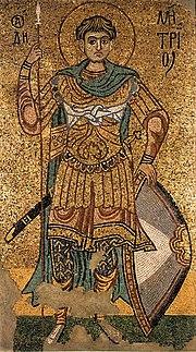 Early 12th-century Kievan mosaic depicting St. Demetrius.