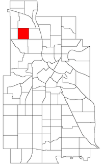Location of Folwell within the U.S. city of Minneapolis