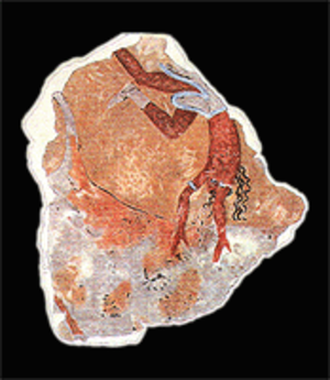 Minoan frescoes from Tell el-Daba - Fragment of a bull-leaper, from Tell el-Daba