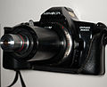 Minolta Dynax 3000i 135 film AF SLR camera with DIY Microscope objective adaptor.jpg