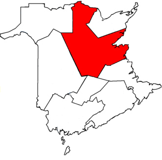Miramichi (electoral district) - Miramichi in relation to other New Brunswick federal electoral districts