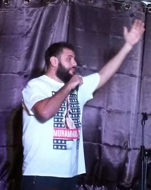 Mohammed Amer - Amer at a comedy show in Ramallah, Palestine in August 2016