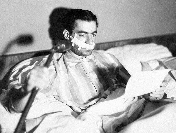 Mohamad Reza Shah Pahlavi in hospital 1949 jpeg