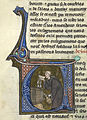 Monk drinking from barrel - Li Livres dou Santé (late 13th C), f.44v - BL Sloane MS 2435.jpg