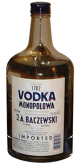 A bottle of Monopolowa Vodka