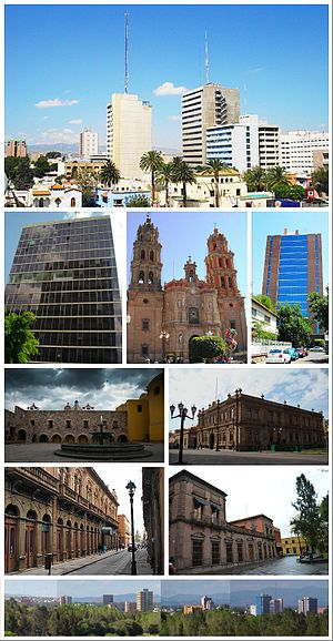 From left to right and from top to the bottom: Buildings at Avenida Carranza, Secretariat of Foreign Affairs tower, St. Louis Cathedral, National Institute of Statistics and Geography tower, Plaza de San Francisco, Museo Nacional de la Máscara, Calle Universidad, San Luis Potosí historical centre, panorama of San Luis Potosí.