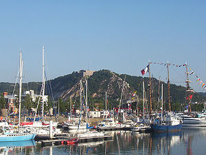 Cherbourg-Octeville - The Montagne du Roule seen from the commercial harbour.