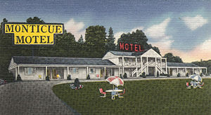 Donegal, Pennsylvania - A post card of Monticue's Motel in Donegal, 1954