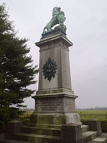 Brunswick Monument in Baisy-Thy. The German caption reads: Frederick-William Duke of Brunswick and Luneburg fought ahead of his troops and fell not far from this place on 16 June 1815.[3] (Source: Wikimedia)