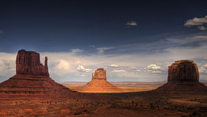 Butte - The Mittens and Merrick Butte in Monument Valley, Arizona