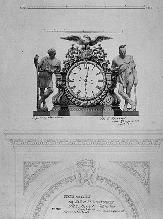 Joseph A. Bailly - Monumental Clock, House of Representatives Chamber, U.S. Capitol, Washington, D.C. (1858). Bailly designed the clock and carved its wooden case. It is now on display in the Capitol's Crypt.