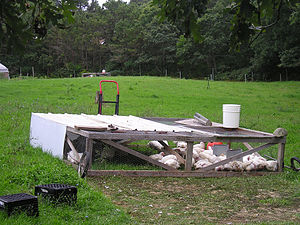 "A mobile chicken coop of a type called a ""..."