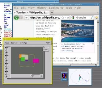 Motif Window Manager - Motif Window Manager showing Motif demo panner(1) which yields a virtually large desktop.