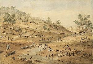 Castlemaine, Victoria - Another view of the Mount Alexander goldfields in 1852, painted by ST Gill