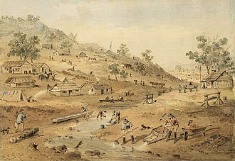 Australian gold rushes - Another view of the Mount Alexander goldfields in 1852, painted by Samuel Thomas Gill
