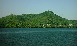 Lake Iruka - Image: Mount Owarifujij and Meiji Mura from Iruka Pond 2008 05 15