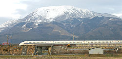 The Shinkansen streaks past Mt. Ibuki before reaching Maibara Station.