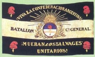 "Argentine Civil Wars - A Rosas-era banner calling for ""death to the brutal Unitarians"" typified the ongoing conflict."