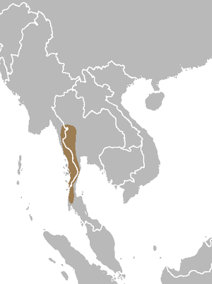 Fea's muntjac - Image: Muntiacus feae map