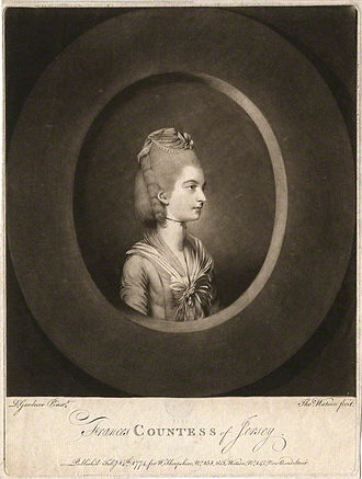 Frances Villiers, Countess of Jersey - Frances Villiers, Countess of Jersey. A mezzotint engraving by Thomas Watson (1743–1781), published in 1774 after the original portrait by Daniel Gardner.