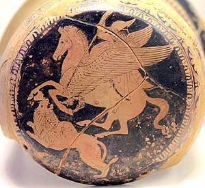 Bellerophon - Bellerophon on Pegasus spears the Chimera, on an Attic red-figure epinetron, 425–420 BC
