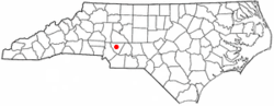 Location of Concord within North Carolina