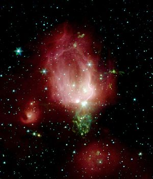 NGC 7129 - An image of NGC 7129 by the Spitzer Space Telescope.