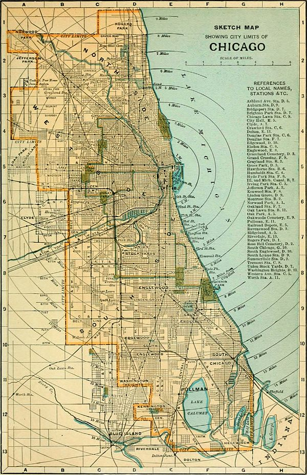 The New International Encyclopædia/Chicago - Wikisource, the free Chicago City Limits Map on