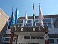 Nagy Imre Community Centre, flags, 2016 Csepel-Csillagtelep.jpg