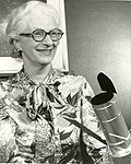 Nancy Grace Roman with Space Telescope Model in 1966 (27154772837).jpg