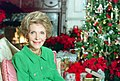 "Nancy Reagan Sitting in The White House Library for ""Christmas in Washington"" with Decorations in Background NARA 75856409.jpg"