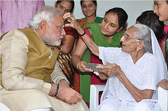 Narendra Modi - Modi meets his mother after winning the 2014 elections