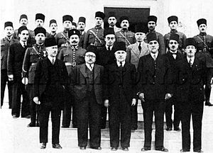 Jamil Ibrahim Pasha - A delegation of National Bloc politicians at the Syrian government's Damascus headquarters, 1939. Jamil Ibrahim Pasha is the first from the left in the second row