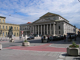 National Theatre Munich opera house in Max-Joseph-Platz in Munich, Germany, home to the Bavarian State Opera and Ballet