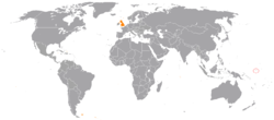 Map indicating locations of Nauru and United Kingdom