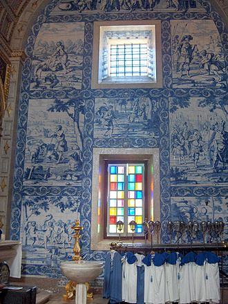 Tile - Azulejos by Willem van der Kloet (1708) in the transept of the Church of Nossa Senhora da Nazaré; Nazaré, Portugal