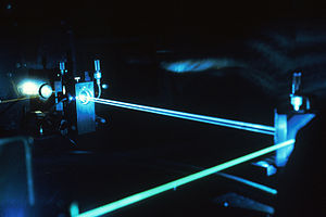Ion laser - This argon-ion laser emits blue-green light at 488 and 514 nm